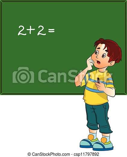 Boy Solving a Math Problem, illustration - csp11797892
