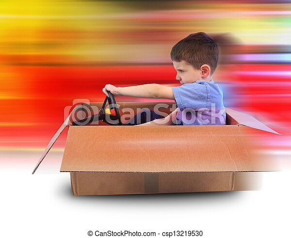 Boy Speed Driving in Box Car - csp13219530