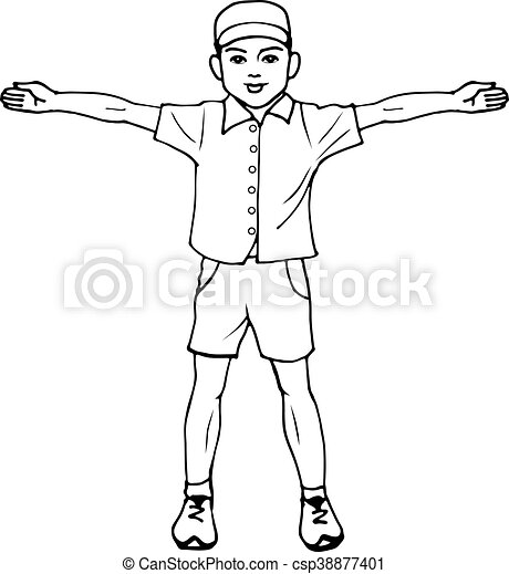 boy standing with arms outstretched vector illustration of a boy
