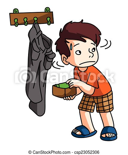 boy stealing money rh canstockphoto com Shoplifting Clip Art stealing food clipart
