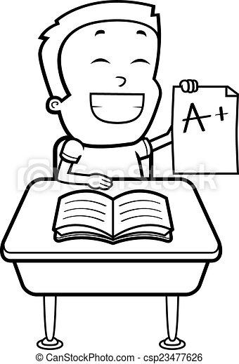 Vector Illustration of Boy Student A happy cartoon boy sitting