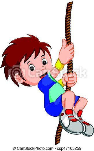 boy swinging on a rope - csp47105259