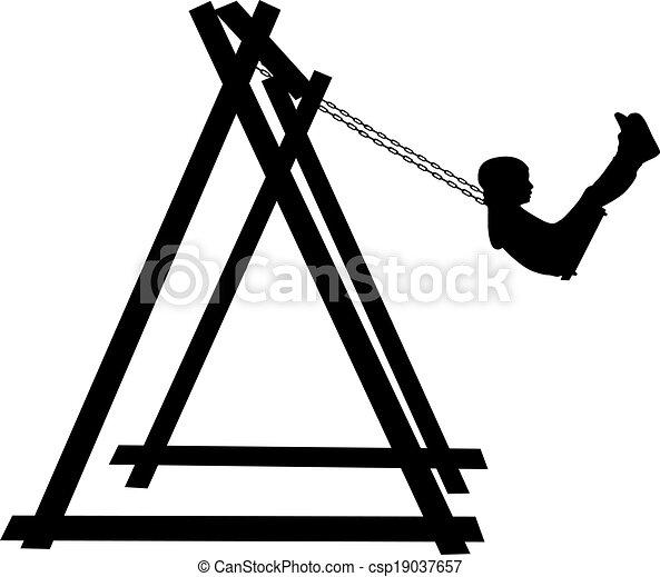 Boy swinging on a swing  - csp19037657