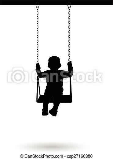 Boy swinging on a swing - csp27166380