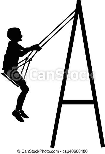 Boy swinging on a swing - csp40600480