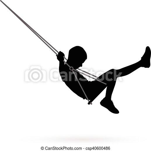 Boy swinging on a swing - csp40600486