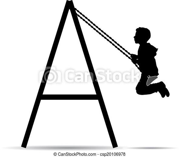 Boy swinging on a swing - csp20106978