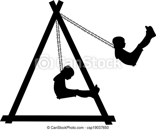 Boy swinging on a swing in the park - csp19037650