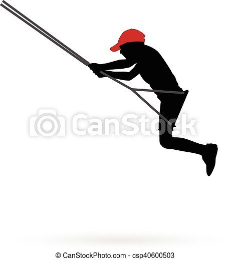 Boy swinging on a swing - csp40600503