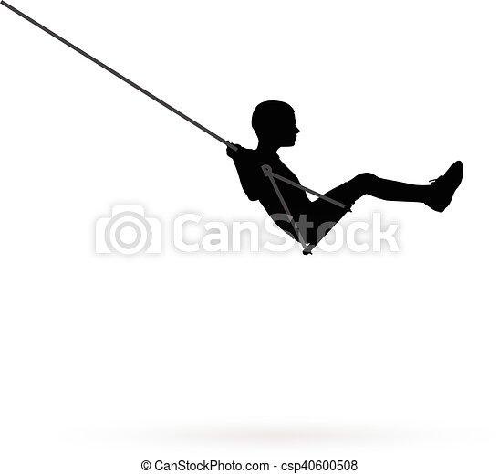 Boy swinging on a swing - csp40600508