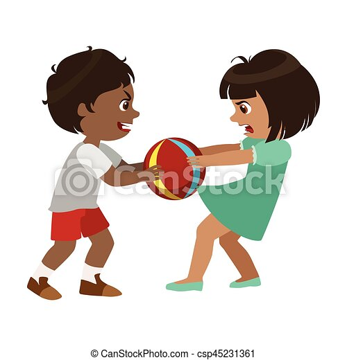 Boy Taking Away A Ball From A Girl, Part Of Bad Kids Behavior And Bullies Series Of Vector Illustrations With Characters Being Rude And Offensive - csp45231361