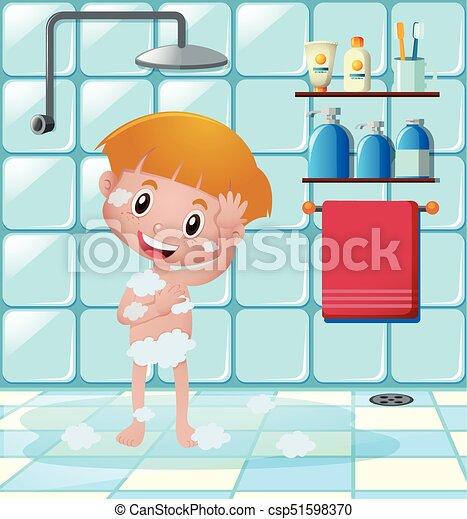 boy taking shower in bathroom illustration. Black Bedroom Furniture Sets. Home Design Ideas