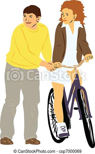 boy teaches girl to ride a bike - csp7000069