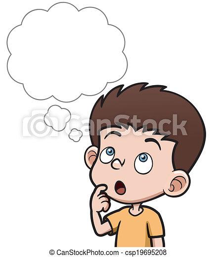boy thinking vector illustration of cartoon boy thinking with white rh canstockphoto com little boy thinking clipart boy thinking clipart gif