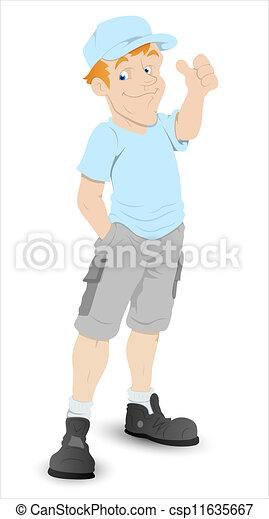 Boy Thumbs Up Cartoon Character - csp11635667