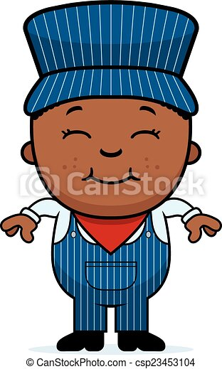 a cartoon illustration of a boy train conductor standing and rh canstockphoto com
