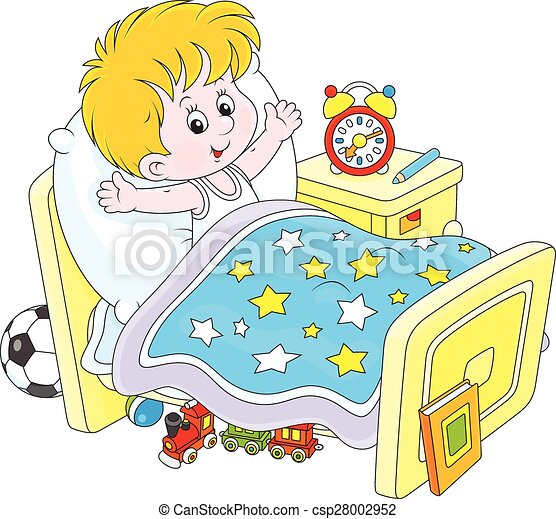 boy waking up little boy waking up and stretching in his bed at home rh canstockphoto com wake up clipart images wake up clipart images