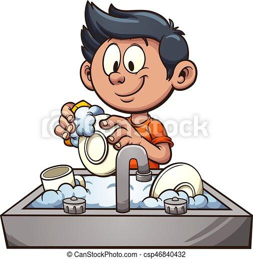 Boy washing dishes - csp46840432