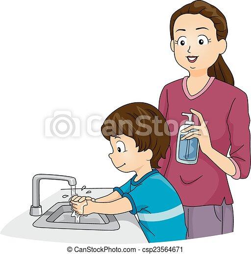 Boy Washing Hands - csp23564671