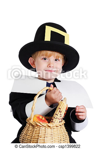 Boy wearing a Pilgrim Costume - csp1399822  sc 1 st  Can Stock Photo & Boy wearing a pilgrim costume . A preschool age boy wearing a ...