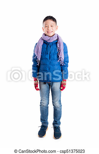 677814f1b boy wearing blue jacket and scarf standing over white background