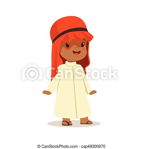 Boy wearing in white dress and red muslim headdress, national costume of Saudi Arabia colorful character vector Illustration - csp49300970