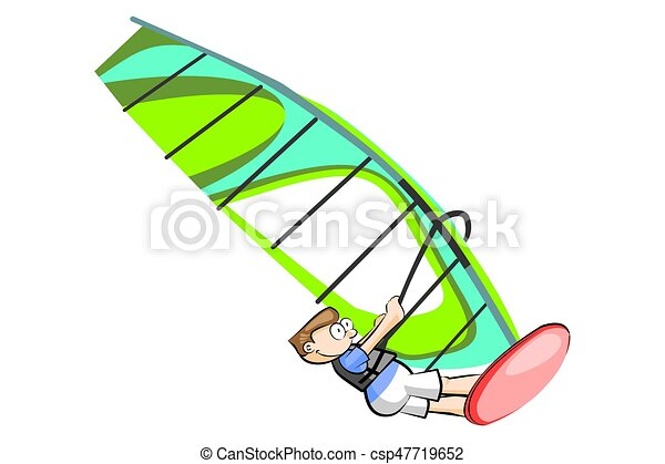 Boy Windsurfing Isolated On White Background