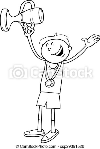 Boy winner coloring page Black