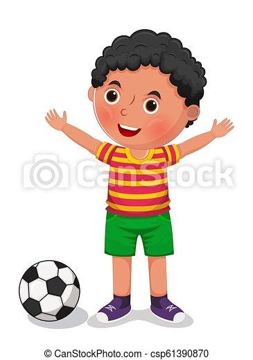 Boy with a ball vector illustration - csp61390870