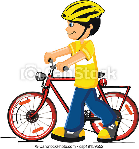 Boy with a bicycle - csp19159552