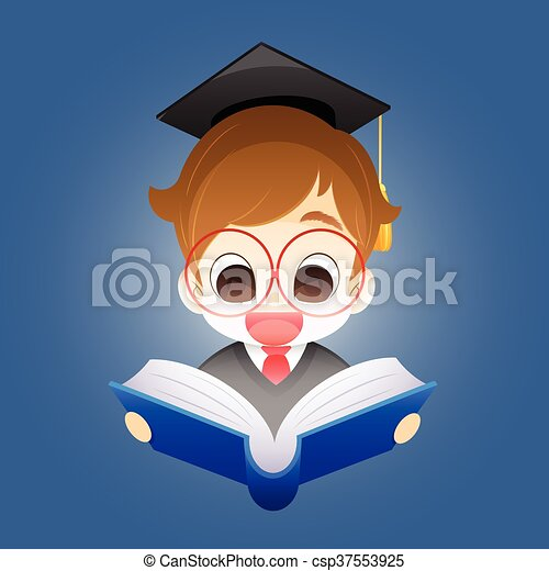 Boy with a book, Boy on a blue background holding an open book - csp37553925