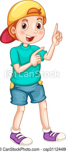 Boy With A Cap Pointing His Fingers Illustration