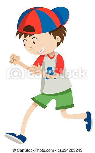 Boy With A Cap Walking Illustration
