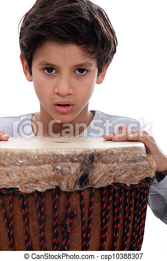 Boy with a djembe drum - csp10388307