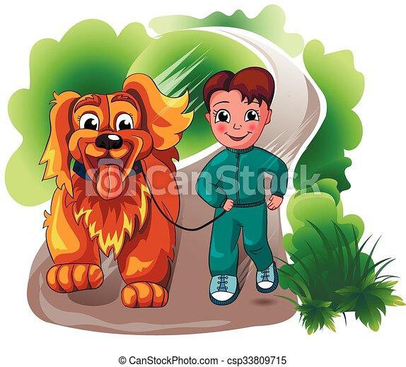 boy with a dog  - csp33809715