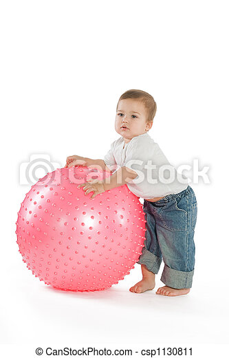 Boy with a fitness ball - csp1130811