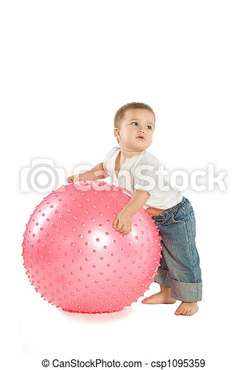 Boy with a fitness ball - csp1095359