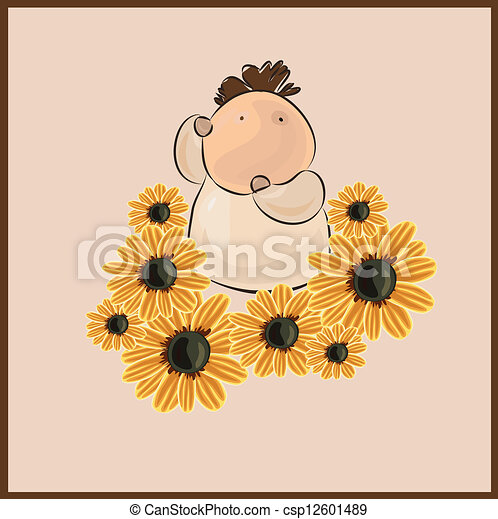 boy with a flower - csp12601489