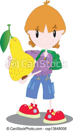 Boy with a pear - csp13648008