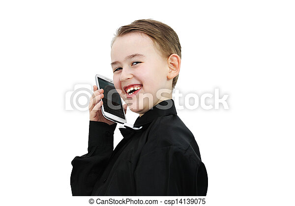Boy with a phone - csp14139075