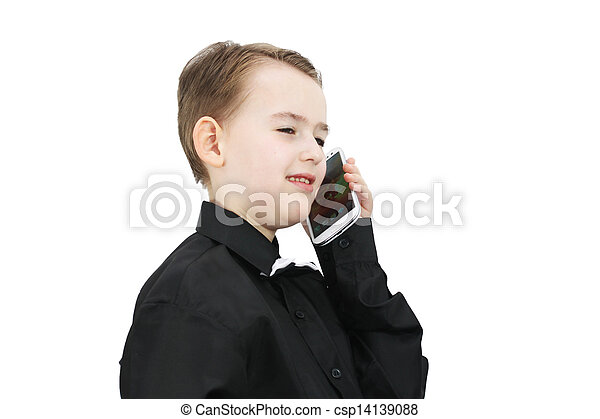 Boy with a phone - csp14139088