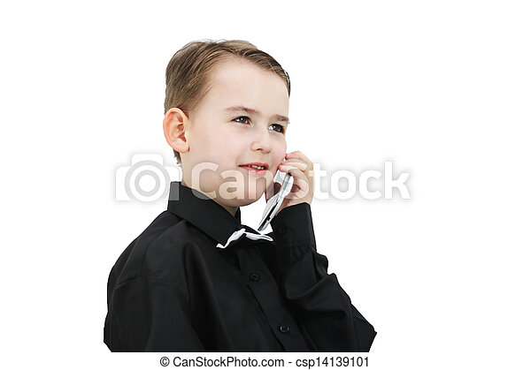 Boy with a phone - csp14139101