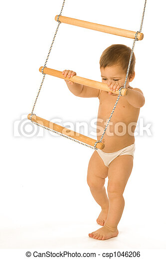Boy with a rope-ladder - csp1046206