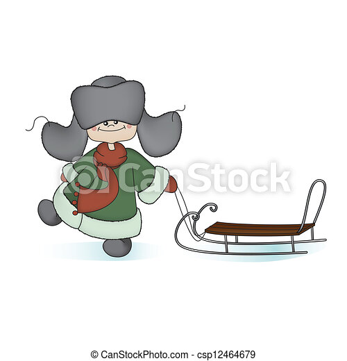 Boy with a sledge - csp12464679