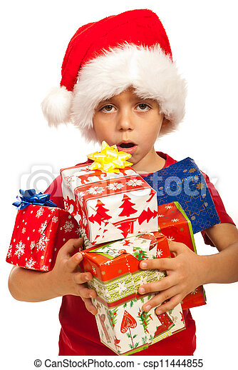 Boy with arms full of Xmas gifts - csp11444855