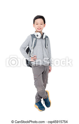 boy with backpack over white - csp45915754