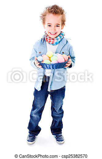 Boy with basket full of Easter eggs - csp25382570