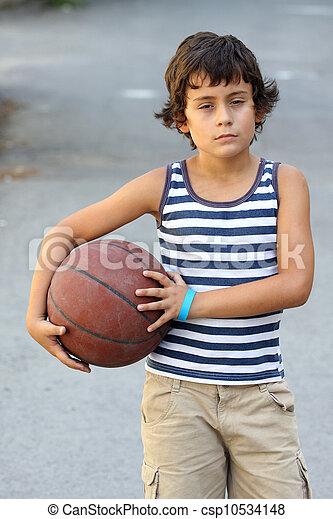 boy with basketball ball - csp10534148