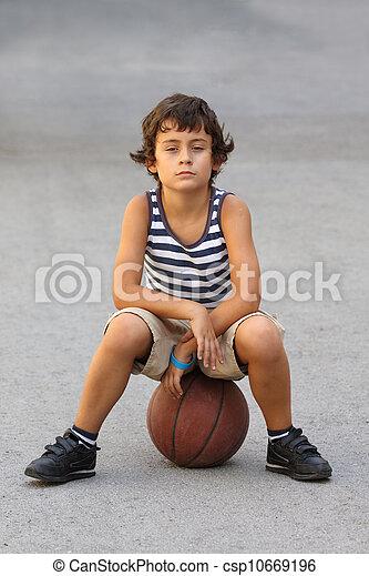 boy with basketball ball - csp10669196