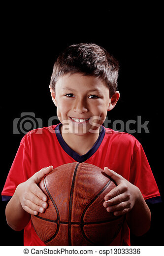 Boy with basketball  - csp13033336